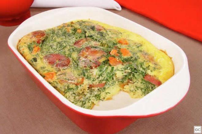 Omelete de couve e chouriço