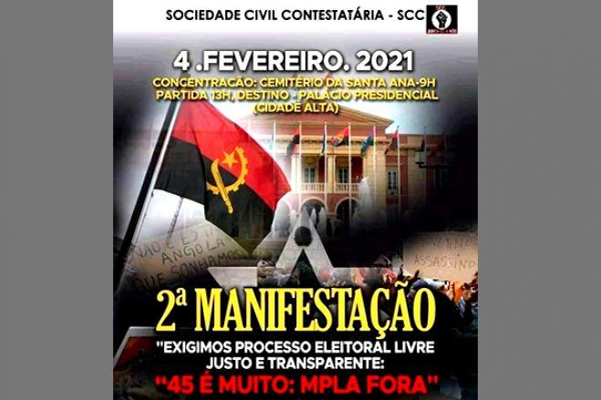 Angolanos contra os 45 anos do MPLA no poder protestam defronte ao Palácio Presidencial